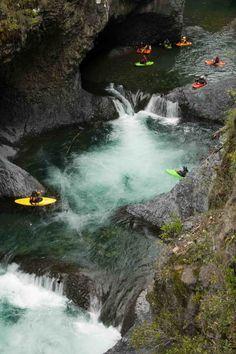 Siete Tazas (Seven Teacups) Waterfall, Rio Claro, Parque Inglés in the Radal de las Siete Tazas National Park, Chile.