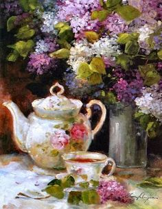 Spring Lilacs and a cup of tea:)