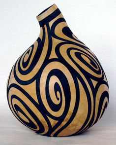 technically not wood, but it is a cellulose material that hardens and looks very much like wood Decorative Gourds, Hand Painted Gourds, Painted Pots, Ceramic Pottery, Pottery Art, Ceramic Art, Pottery Studio, Bottle Art, Bottle Crafts