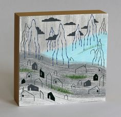 """Steel Grey Town, framed painting, 6""""x6"""" by alidouglass on Etsy"""