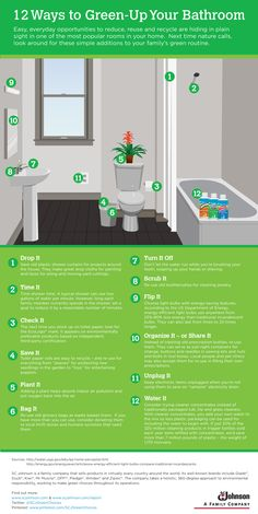 12 ways to green-up your bathroom - infographic - bathroom cleaning - Use these eco friendly tips for a cleaner house! Green Life, Go Green, Green Bay, Green Living Tips, Reduce Reuse Recycle, Eco Friendly House, Sustainable Living, Indoor Plants, Sustainability