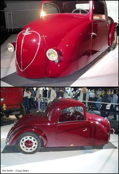 1942 Baby Rhone.Paris-Rhône was a French producer of small three-wheeler electric cars based in Lyon.The front wheel was mounted on a motor-cycle style fork, but the mechanism was concealed from view by the body work.The electric motor delivered 2.5 hp at 2,300 rpm. A top speed of 19 mph and a range of approximately 40 miles were quoted. The three-wheeled car had one bench seat suitable for two thin people.