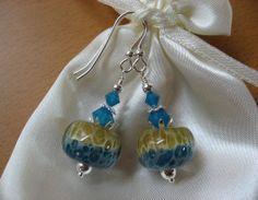 Boro Lampwork Earrings, Sand and Sea Earrings