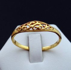 14 kt Gold plated Promise Ring, Solid Silver Ring Gold Skinned, Gold Tone Sterling Silver Ring, Cute Ring, Floral Ring, Cool Ring by Inmmotion on Etsy