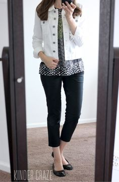 Love this outfit! Black Siena Cropped Pant and Callie White Denim Jacket from Kut From the Kloth - Stitch Fix