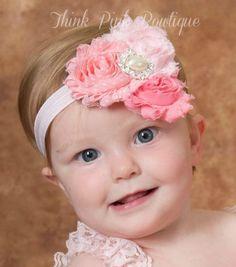 Pink Baby Headband Headband baby girl by ThinkPinkBows on Etsy, $8.95