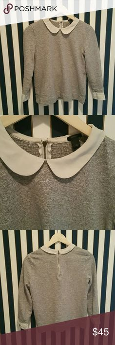 Jcrew peterpan collar. Sweater. I really hate to sell this, I'll only sell for asking price, unless you bundle. I dont know if the white collar is ment to be off. I don't think so because I see others are not. Not really noticeable. J. Crew Sweaters Crew & Scoop Necks