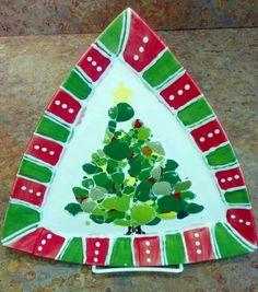 recycled glaze chips tree platter