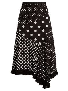 Polka-dot print asymmetric silk skirt | Andrew Gn | MATCHESFASHION.COM US