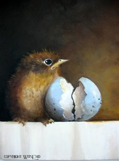 Robin Egg painting original baby bird still life art by 4WitsEnd, via Etsy