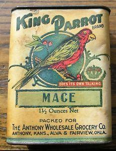 -VTG-King-Parrot-Spice-Tin-Mace-Alva-Fairview-Oklahoma-Anthony-kansas