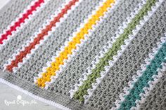 Crochet V-stitch Rainbow Blanket