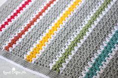 Crochet V-stitch Rainbow Blanket