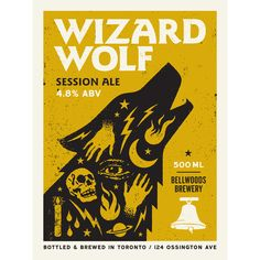 """Artwork from the Wizard Wolf label we designed for Bellwoods Brewery.  2 colour screen print  Cougar Natural 100lb cover stock  18"""" x 24"""""""