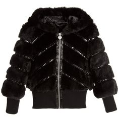 Armani Junior - Girls Black Synthetic Fur Jacket with Hood   Childrensalon
