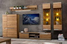 Best living room furniture deals solid wood entertainment center with stora Tv Wall Design, Tv Unit Design, House Design, Living Room Wall Units, Living Room Decor, Dining Room, Large Wall Shelves, Tv Stand And Entertainment Center, Large Tv Stands