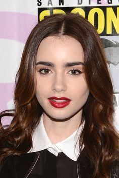 Heart This Makeup Look on Lily Collins. The brows, the lips, the lashes. Filing this away under how I should look all the time! (oh and that hair color!)