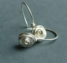 Small Rose Bud Sterling Silver Dangle Earrings by phoebestreasure, $18.00