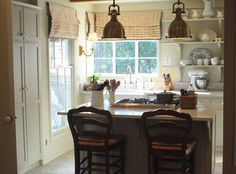 "Cabinet Paint: Farrow and Ball ""Old White"" Walls, Trim Paint: Farrow and Ball ""Off White"" Counters - Silestone ""Lagoon"" Kitchen Dining, Kitchen Decor, Kitchen Ideas, Kitchen Inspiration, Dining Rooms, Cozy Kitchen, Green Kitchen, Garden Inspiration, Kitsch"