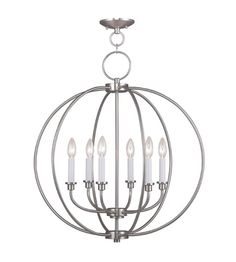 Livex 4666 91 Milania 6 Light 25 Inch Brushed Nickel Chandelier Ceiling  Light