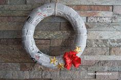 ŚWIĄTECZNY WIANEK Z GAZETY Christmas wreath  #wianek #stroik #christmas #święta #gazeta
