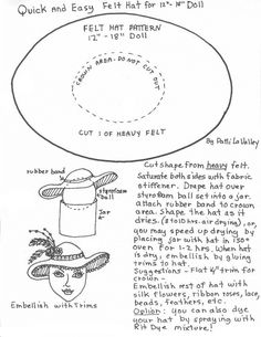 1 Piece Felt Hat Pattern | free pattern for you by patti lavalley print page for pattern