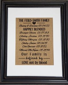 Blended Family Wedding Gift  Blended Family Sign  Stepmother