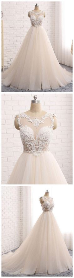 Custom made round neck lace tulle long prom gown, wedding dress P1084