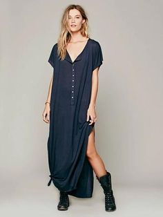 A4005 Women Loose long t shirt Dress Knitwear Cotton fabric Boho Peopl – Hespirides Gifts