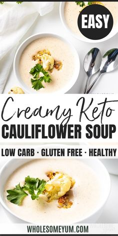Healthy Creamy Roasted Cauliflower Soup Recipe - You'll love my EASY creamy roasted cauliflower soup recipe! Find out what the surprise ingredient is in healthy roasted cauliflower soup. Keto Veggie Recipes, Chicken Soup Recipes, Healthy Soup Recipes, Appetizer Recipes, Cooking Recipes, Dinner Recipes, Lunch Recipes, Easy Cauliflower Soup, Roasted Cauliflower Soup Recipe
