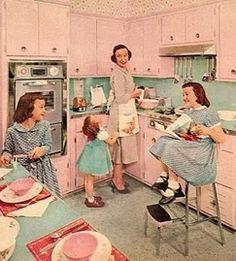 Pink vintage kitchen ~ PINK & aqua...