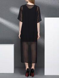 Asymmetric Silk Two Piece Midi Dress