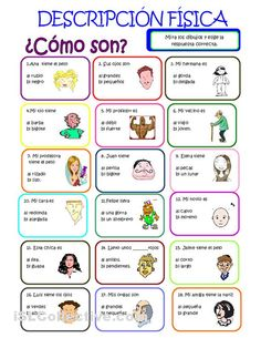 Adjectives in Spanish: physical descriptions. Spanish worksheet for kids. Ejercicio de adjetivos para practicar las descripciones físicas.