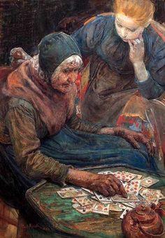 Paul Rink (Dutch, : La cartomancienne/ The Fortune teller, Art Magique, Gypsy Fortune Teller, Fortune Telling Cards, Hedge Witch, Tarot Readers, Dutch Artists, Moon Art, Art World, Fine Art