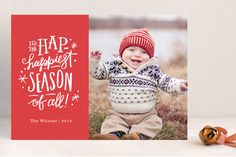 Hap-Happiest Time Holiday Photo Cards by Jennifer Wick at minted.com