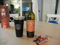 An entire bottle of wine can fit in a Starbucks Trenta cup....GOOD TO KNOW!!!!!!!!