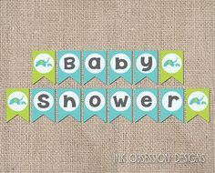 Printable Baby Shower Banner Bunting PDF Boys Blue and Green Elephants INSTANT DOWNLOAD