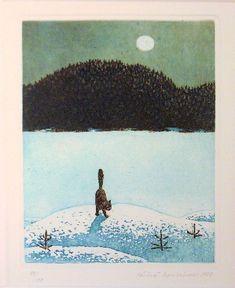 Cat in Moonlight - Rouvinen Väinö , grafph, 20 x 15 cm. Illustrations, Illustration Art, Franz Xaver Winterhalter, Thomas Moran, Animal Magic, Good Night Moon, Wassily Kandinsky, Sculpture, Claude Monet