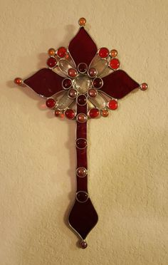 Red Stained Glass Cross (Clear, Red, Orange accent gems) by eljamongrande on Etsy