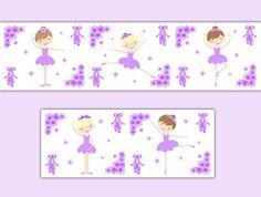BALLERINA NURSERY BORDER Decal Girl Wall Art Purple Ballet Room Stickers Decor Baby Shower Decorations Kids Childrens Floral Dance Bedroom #decampstudios