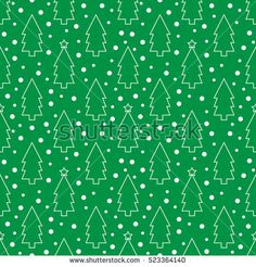 Seamless pattern with Christmas trees and snow on a green background.