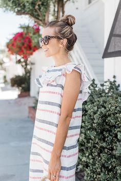 Merrick's Art   DIY Ruffle Striped Summer Dress @Fabricdotcom #MadeWithFabric #DIYFriday #Sponsored