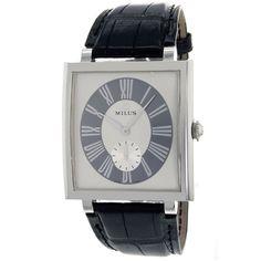 Women's White Dial Black Leather - Milus Watch