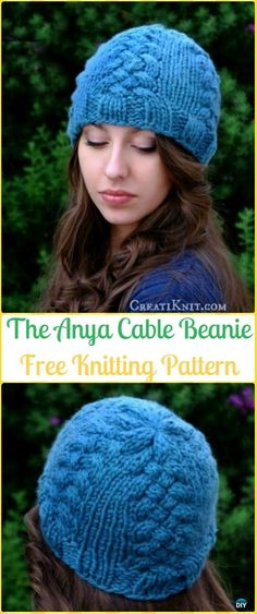 Cable Knit Women The Anya Beanie Hat Free Pattern - Knit Beanie Hat Free Patterns