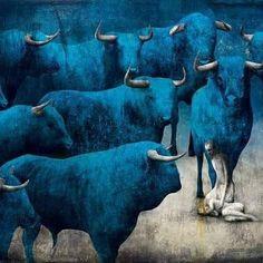 F&O Fabforgottennobility — jahnakim: Gabriel Pacheco Cow Paintings On Canvas, Animal Paintings, Culture Pop, Scary Art, Cow Art, Art Carved, Lowbrow Art, Fantastic Art, Magazine Art