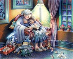 """""""You may have tangible wealth untold; caskets of jewels and coffers of gold. I had a mother who read to me."""" Strickland Gillian Illustration by Sylvie Daigneault Grandma And Grandpa, Norman Rockwell, Poetry Books, Cute Illustration, I Love Books, Beautiful Paintings, Grandparents, Book Worms, Folk Art"""