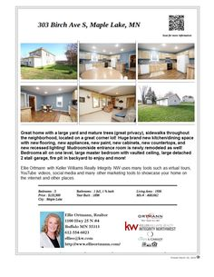 303 Birch Ave S Maple Lake MN 55358. This home is in town, located near Maple Lake Community Park, shopping, golf courses. ISD 881 Maple Lake schools. #EllieOrtmann,#Realtor,#KellerWilliamsRealtyIntegrityNW