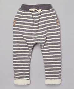 Gray Stripe Fleece Jogger Pants - Infant, Toddler & Kids