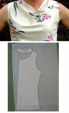 Free Sewing Tutorial: Draft a Cowl Neck # Fashion Sewing Tutorials Dress Sewing Patterns, Blouse Patterns, Sewing Patterns Free, Free Sewing, Clothing Patterns, Blouse Designs, Pattern Drafting Tutorials, Pattern Dress, Diy Clothing