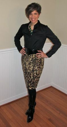 Target Leopard Skirt, Limited Black Button Down Shirt, Black Leather Boots